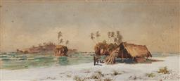 Sale 9180A - Lot 5072 - ADOLPH GUSTAVE PLATE (1874 - 1914) Indigenous Campsite, Fiji 1900 watercolour and bodycolour 15 x 32.5 cm (frame: 36 x 54 x 3 cm) si...