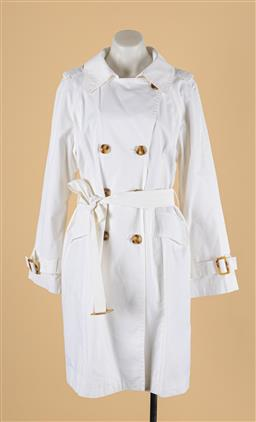Sale 9260H - Lot 376 - A Michael Kors white trench coat with brown buttons & waist belt, size L.