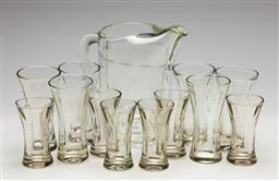 Sale 9253 - Lot 115 - A faceted glass drinks suite incl. six tall and six short glasses together with a jug (H:22cm)