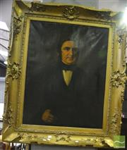 Sale 8345 - Lot 1094 - Large Oil on Canvas Portrait of a Gentleman in superb gilt frame