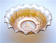 Sale 8376A - Lot 11 - An Australian Kangaroo Carnival Glass Master Bowl in Marigold. Rd 4696 c.1924 by Crown Crystal Sydney, W: 23cm, 9.5