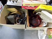Sale 8464 - Lot 2284 - Two Boxes of Various Sundries Incl Glassware, Ceramics, and Various Kitchenalia, Phone, Basket, etc
