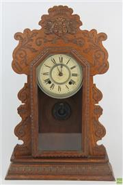 Sale 8555 - Lot 8 - Ansonia Timber Mantle Clock
