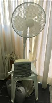 Sale 8562A - Lot 242 - A group of electricals including a standing fan, together with two heaters and a paper shredder