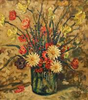Sale 8633 - Lot 573 - Artist Unknown (C20th) - Flowers and Green Vase 48.5 x 43cm