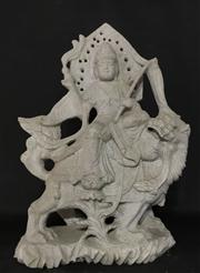 Sale 8706A - Lot 85 - An antique asian finely carved detail buddha and lion statue depicting vaishravana carved from single piece of stone, general wear, ...