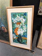 Sale 8841 - Lot 2094 - E Williams 'Floral Pattern' watercolour, signed