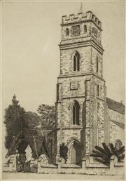 Sale 8870 - Lot 2018 - Gayfield Shaw (1885 - 1961) - St Judes Anglican Church, Randwick Sydney, 1934 28 x 19cm