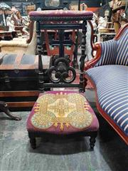Sale 8925 - Lot 1017 - A tapestry and ebonised timber prie dieu