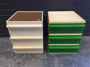 Sale 9022 - Lot 1078 - Kartell Style Plastic Three Drawer Bedsides (H52 x W41 x D46cm)
