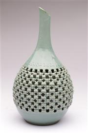 Sale 9070 - Lot 39 - A Chinese Crackle Glaze Reticulated Vase (Damage to Top H 32cm)