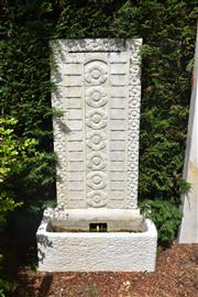 Sale 9087H - Lot 229 - A composition stone wall fountain. 1.5m height 80cm width 42cm depth