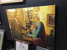 Sale 9101 - Lot 2078 - Andrew Battye Super Girl Goes to Washington, 2007 , acrylic on canvas on board, 84 x 115 cm, signed, dated and titled verso -