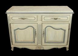 Sale 9135H - Lot 106 - An early 20th C French provincial painted buffet with fitted carrara marble top. Overall size  93cm height,  134 Width x 53 Depth