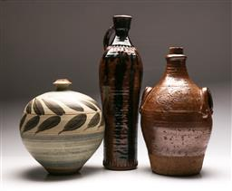 Sale 9131 - Lot 76 - Set of three studio potted vessels inc earthenware (H:51cm, 41cm and 32cm)
