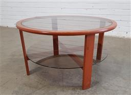 Sale 9151 - Lot 1038 - Teak glass top coffee table (h:43 x d:80cm)