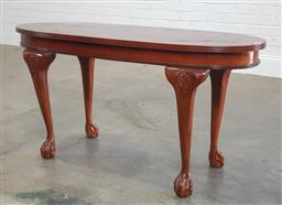 Sale 9188 - Lot 1679 - Oval inlaid top occasional table (h66 x w130 x d45cm)