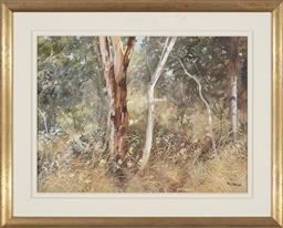 Sale 9184A - Lot 5028 - HAL BARTON (1927 - 2015) Bushwalk, 2003 oil on board 43.5 x 59 cm 9frame: 64 x 79 x 4 cm0 signed lower right, dated and titled verso