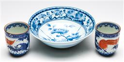 Sale 9253 - Lot 219 - A pair of Chinese cups (H:8.5cm) together with a blue and white bowl (Dia:20cm)
