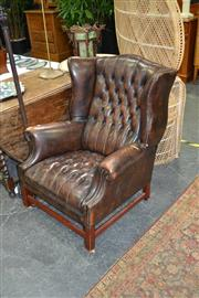 Sale 8046 - Lot 1026 - Leather Wingback & Button Back Armchair