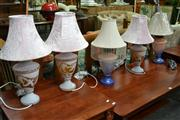Sale 8156 - Lot 1079 - 3 Glass Urn Form Table Lamps & Pair of Art Glass Table Lamps (5)