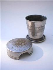 Sale 8278 - Lot 1736 - Vest Patented Collapsible Cup; nickel-plated (on brass), marked with the patent details, PATD FEB.23.97 IN U.S.A., being Feb 189...
