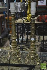 Sale 8289 - Lot 1029 - Pair of Brass Base Table Lamps