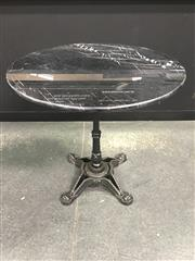 Sale 8451B - Lot 102 - French-Style Cafe Table w Black Granite Top (D:80cm) on cast iron base