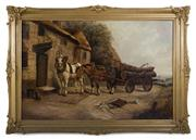 Sale 8473A - Lot 24 - Robert Cleminson, British School, active 1865-1903 - Horses at the Inn 66 x 92cm