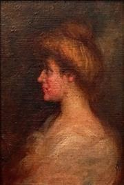 Sale 8609 - Lot 2003 - Artist Unknown - Portrait of an Edwardian Lady (after Tudor St. George Tucker) 16 x 11cm