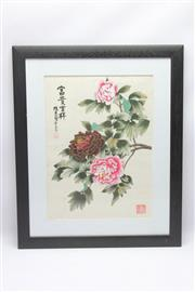 Sale 8670 - Lot 205 - Hand Painted Watercolour of Flowers (Stamped 47cm x 57cm)
