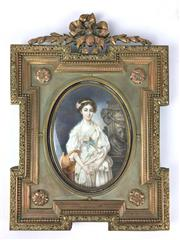 Sale 8995H - Lot 3 - An elaborately decorated C18th ormolu miniature, the image featuring a maiden with pitcher, image size 20cm x 15cm, frame size 39cm...
