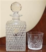 Sale 9055H - Lot 88 - Four Waterford Crystal 9 ounce tumblers in original packaging together with a cut-glass whiskey decanter and stopper (with slight fr...