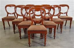 Sale 9196 - Lot 1012 - Set of 10 Victorian Mahogany Balloon Back Dining Chairs, with brown striped fabric upholstery & on turned legs (h:88 x w:44 x d:38cm)