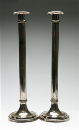 Sale 9209 - Lot 97 - A pair of large silverplated candlesticks (H:54.5cm)