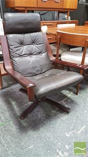 Sale 8395 - Lot 1071 - Leather Upholstered Lounge Chair by J R Furniture