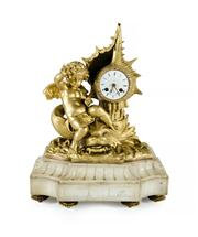Sale 8618A - Lot 12 - An antique French gilt metal on marble cherub & dolphin mantle clock;