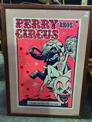 Sale 8643 - Lot 1061 - Vintage Perry Bros. Circus Poster, framed