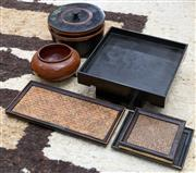 Sale 8746 - Lot 1055 - A quantity of lacquer wear including bowl, basket trays and lidded container
