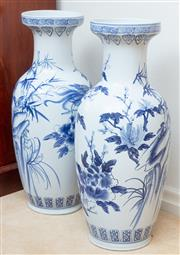Sale 8908H - Lot 17 - A pair of oriental blue and white baluster floor vases, Height 62cm