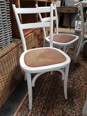 Sale 8912 - Lot 1075 - Set of 6 White Straight Back Chairs