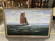 Sale 8990 - Lot 2067 - R B Higgins Barge on Pittwater acrylic on board, 85 x 135cm (frame) signed -