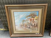Sale 9069 - Lot 2066 - W. Hine Sunday Afternoon by the Boatsheds, oil on board, frame: 50 x 54 cm, signed lower right,