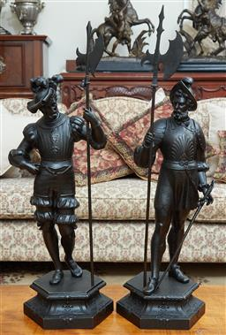 Sale 9103M - Lot 584 - A matching pair of cast metal guards on hexagonal bases, Height 66cm