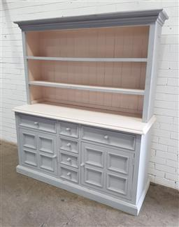 Sale 9134 - Lot 1554 - Painted buffet and hutch (h:190 x w:158 x d:57cm)