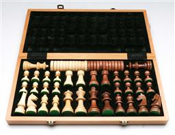 Sale 9153 - Lot 75 - A full timber chess set (board 38cm x 38cm)