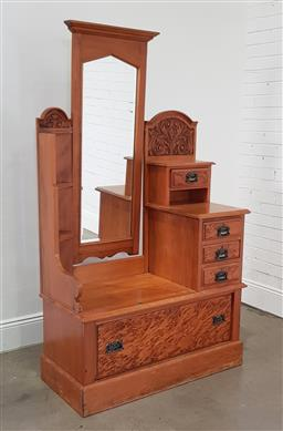Sale 9215 - Lot 1036 - Edwardian Kauri Pine Cheval & Dressing Chest, of asymmetrical design, shaped mirror, four graduated drawers to one side & a long dra...