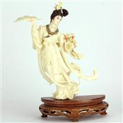 Sale 8221 - Lot 53 - Ivory Carved & Coloured Lady with Fan