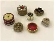 Sale 8436A - Lot 24 - A group of seven gold tone vintage faux ruby stone encrusted pill boxes including grand piano.