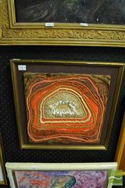 Sale 8458 - Lot 2064 - Unknown Artist - Agate 1972, framed mixed media & fabric